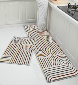 Abstract Lines Rug Kitchen Non Slip